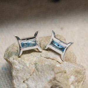 Серебряные серьги с топазами