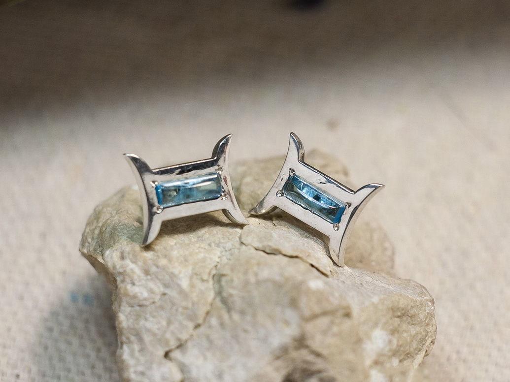 Серебряные серьги с топазом «Близнецы»