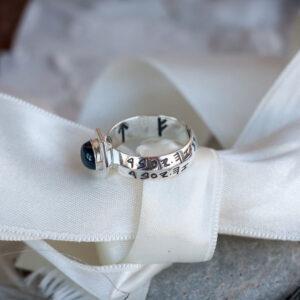 Мужское кольцо с натуральным сапфиром