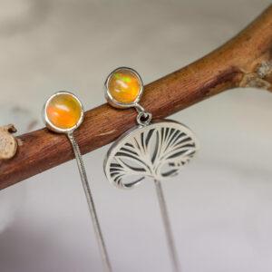Длинные серебряные серьги с опалом