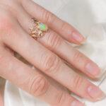 Эльфийское золотое кольцо с опалом