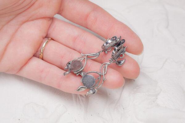 """Серебряные серьги с лунными камнями """"Имина"""""""