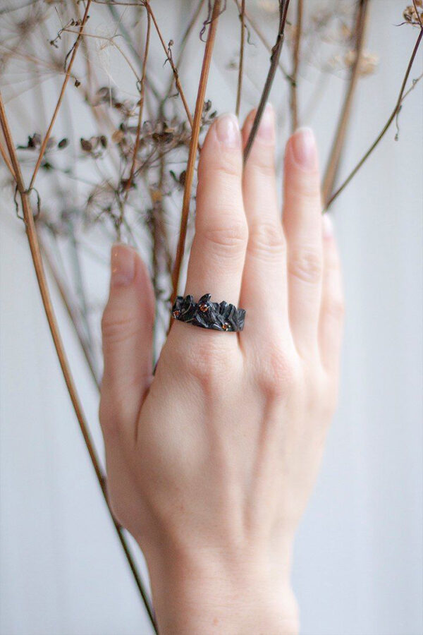 Серебряное кольцо с настоящими цитринами «Ородруин»