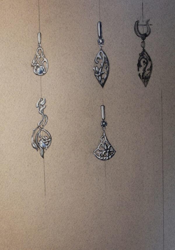 Эльфийские серьги с лунными камнями