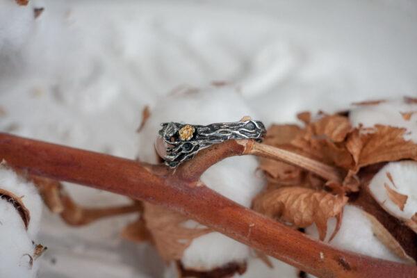 Эльфийское кольцо из серебра с позолотой