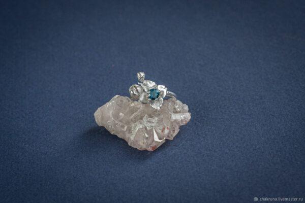 Серебряное кольцо с цветком жасмина