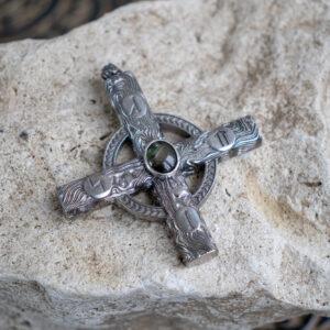 Серебряный крест в круге с рунами Солнечное Колесо