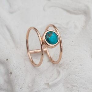 """Минимал кольцо из красного золота с бирюзой """"Феруза"""""""