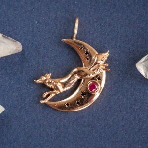 Золотой кулон с лисой и рубином
