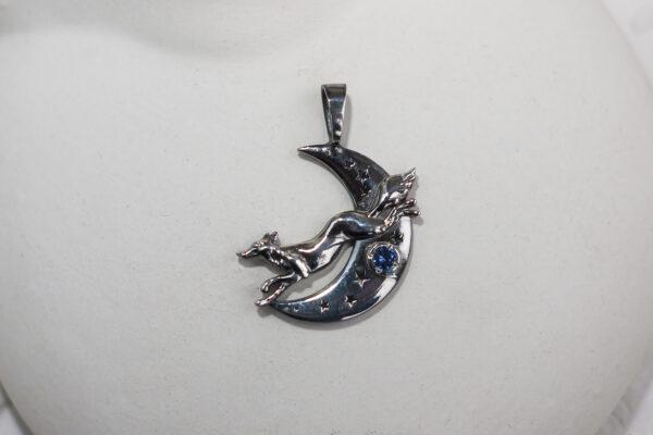 """Необычный кулон лиса из серебра с синим камнем """"Тайна"""""""