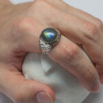 Mens blue labradorite ring