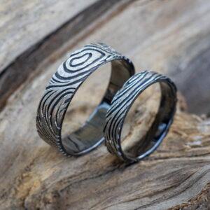 кольца с фактурой дерева