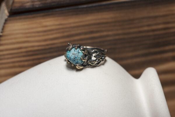 Лесное кольцо из бронзы с азуритом