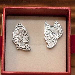 Серебряные серьги Шива и Парвати