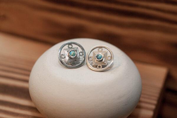 Серебряные серьги с казахской бирюзой