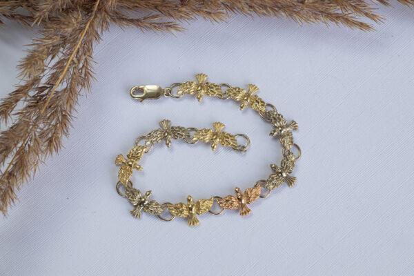 Золотой браслет с голубками