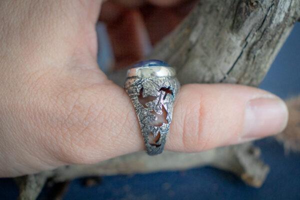 Серебряное кольцо с птицами