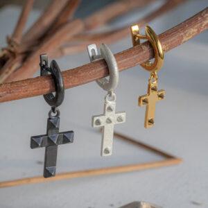 Серебряная моносерьга в форме креста