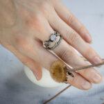 Сет колец из серебра с лунным камнем