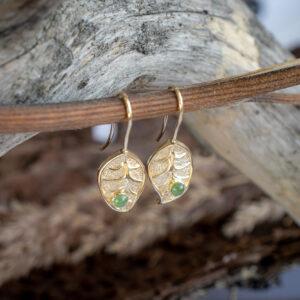 Серьги-листья из золота