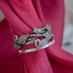 Сет серебряных колец с изумрудом