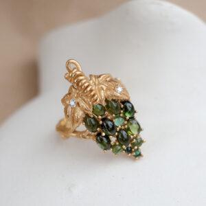Кольцо с турмалинами и бриллиантами