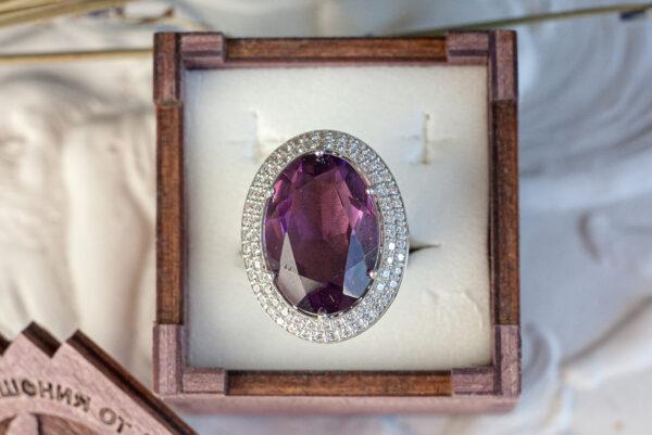 Золотое кольцо с аметистом и бриллиантами
