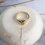 Астрологическое кольцо с желтым сапфиром