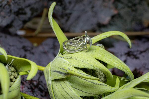 Кольцо-корона из белого золота