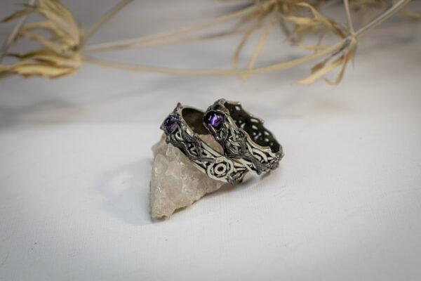 Обручальные кельтские кольца с аметистами