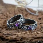 Обручальные кольца с аметистами