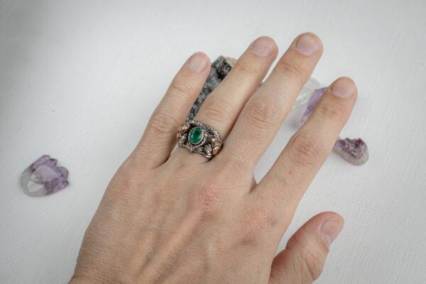 Кольцо Арагорна с природным изумрудом
