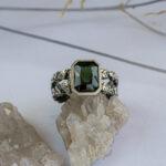 Мужское серебряное кольцо с турмалином