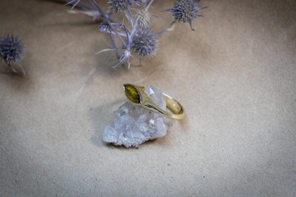 Астрологическое золотое кольцо с сапфиром