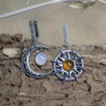 Серебряные серьги с янтарем и лунным камнем