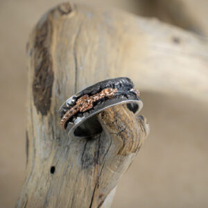 Серебряное кольцо с золотым драконом